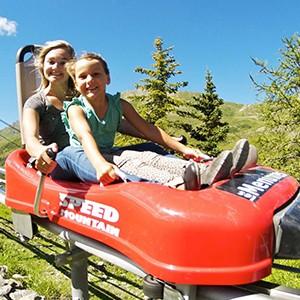 Speedmountain toboggan run on rails
