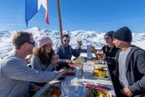 Meals on the ski slopes in the sun